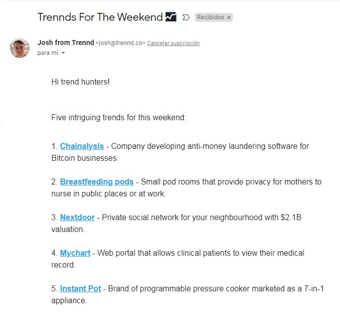 trennd co newsletter - roiting